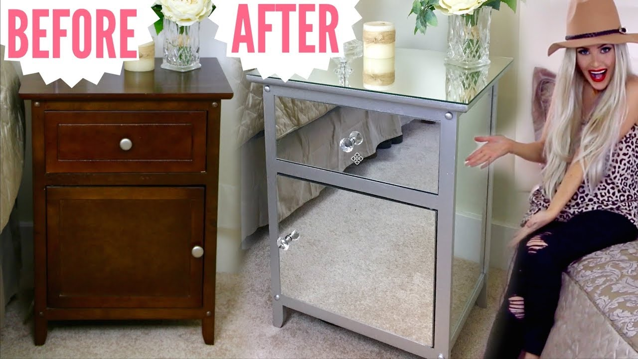 DIY Mirrored Nightstands Hack  Mirrored Furniture Makeover For Cheap //  Lindsay Ann