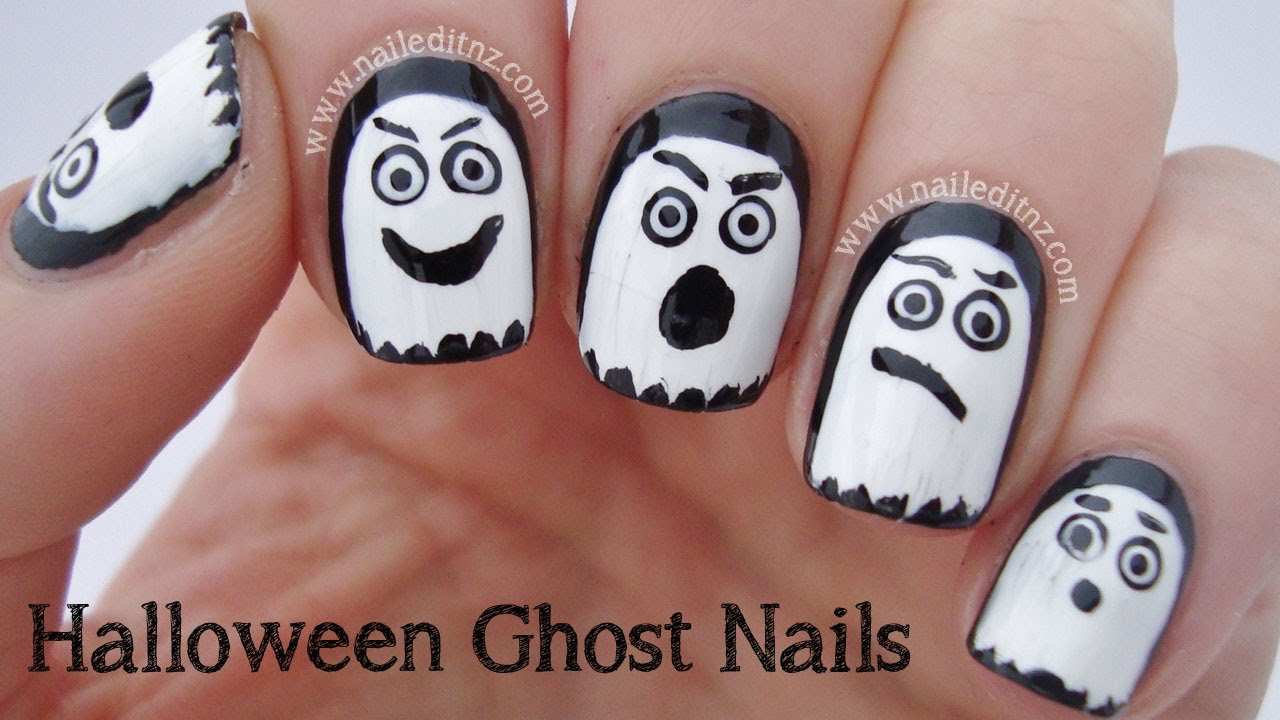 Easy Halloween Ghost Nail Art - Easy Halloween Ghost Nail Art - YouTube