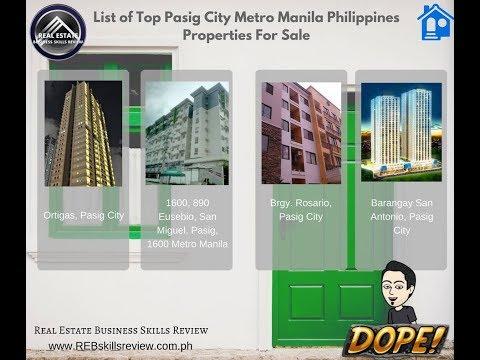 List of Top Pasig City Metro Manila Philippines Properties For Sale