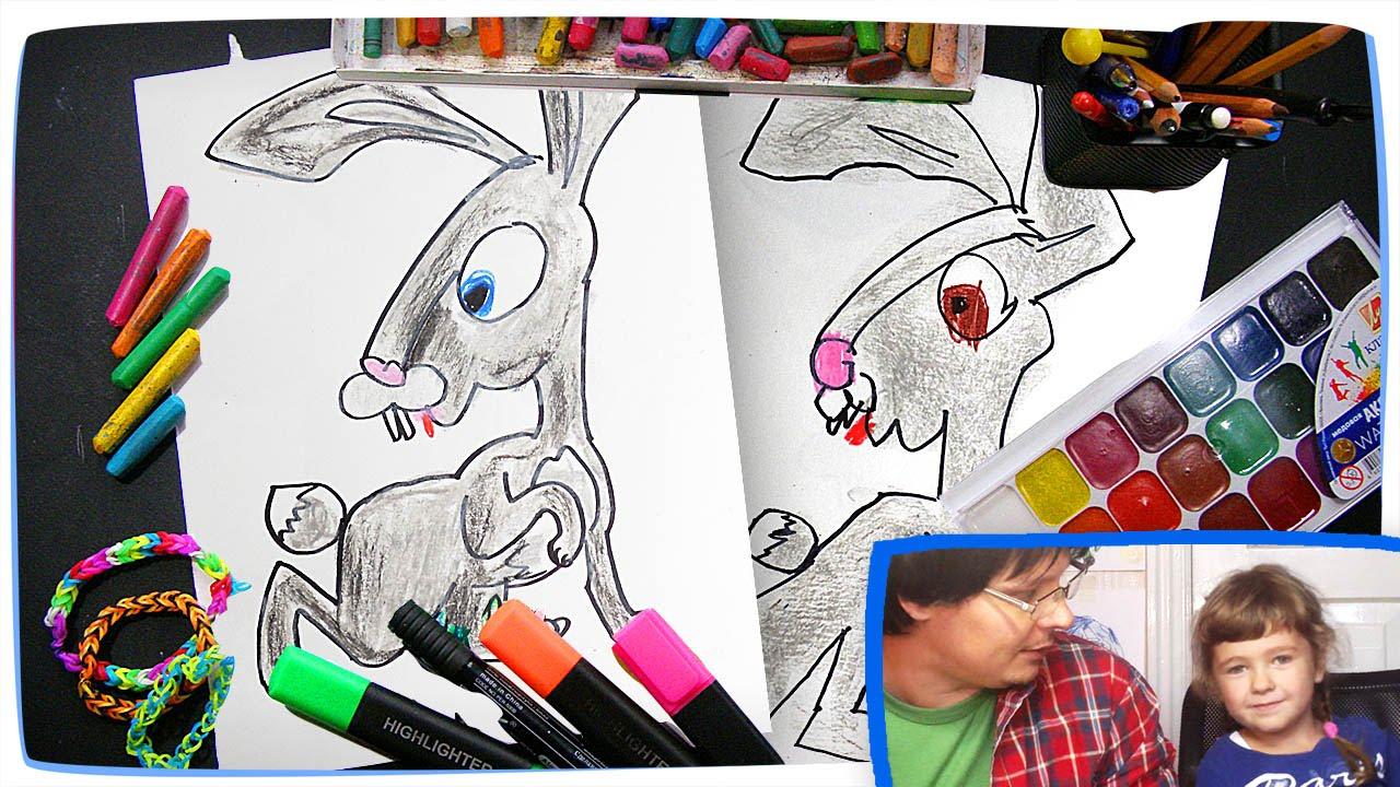 Раскраска для детей Маша и Медведь | Как рисовать зайца ...