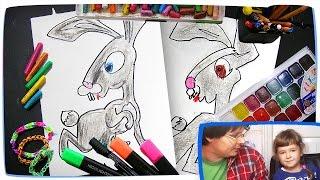 Раскраска для детей Маша и Медведь | Как рисовать зайца | Развивающий урок рисования - раскраска(Вы увидите как рисовать Зайца из мультика Маша и Медведь. Это почти как раскраска: рисуем и раскрашиваем...., 2015-11-19T16:54:20.000Z)