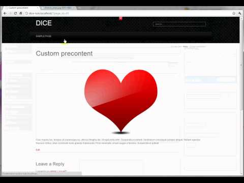 How to set up a sample page with custom precontent