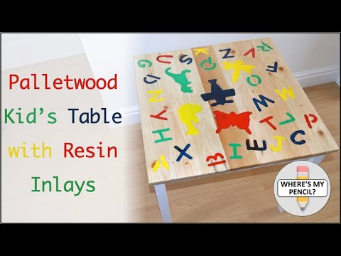 Palletwood Kid's Table with Resin Inlays