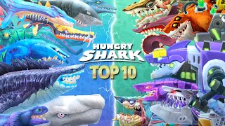 TOP 10 STRONGEST SHARKS in HUNGRY SHARK SER ES Hungry Shark Evolution vs Hungry Shark World