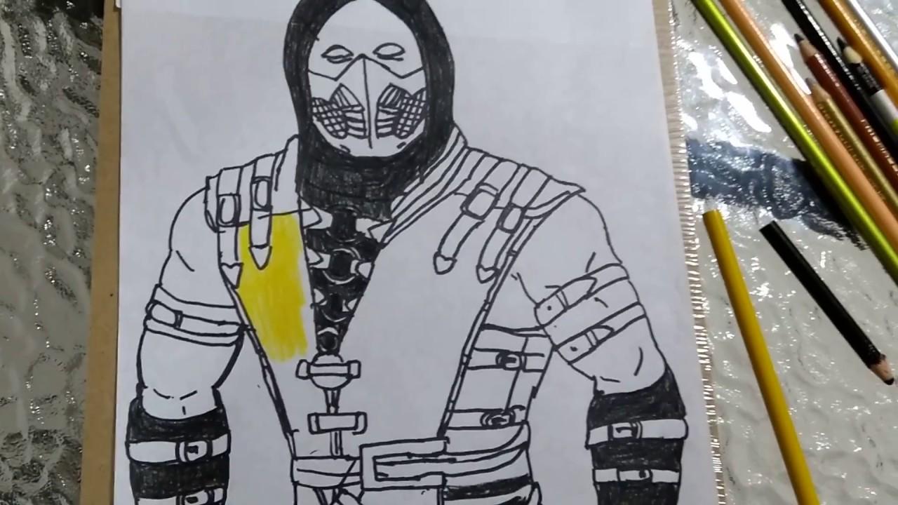 Dibujo De Un Escorpion Dorado cómo pintar al escorpion dorado de mortal kombat 3️⃣ parte/how to paint  gold escorpiÓn from mortal