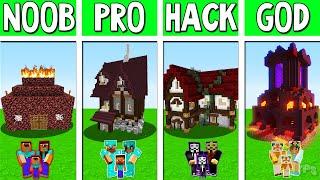 Minecraft Battle  Hell House Build Challenge - Noob Vs Pro Vs Hacker Minecraft Animation