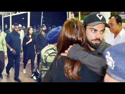 Virat Kohli Hugs Anushka Sharma At Rajkot Airport !!