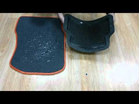 Автоковрики EVA C равнение с резиновым ковриком