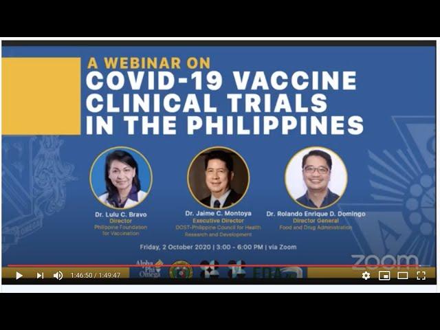 Webinar PH COVID 19 Vaccine Clinical Trials