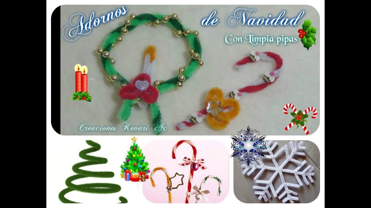 Corona y baston navide os adornos con limpia pipas diy - Manualidades para hacer adornos de navidad ...