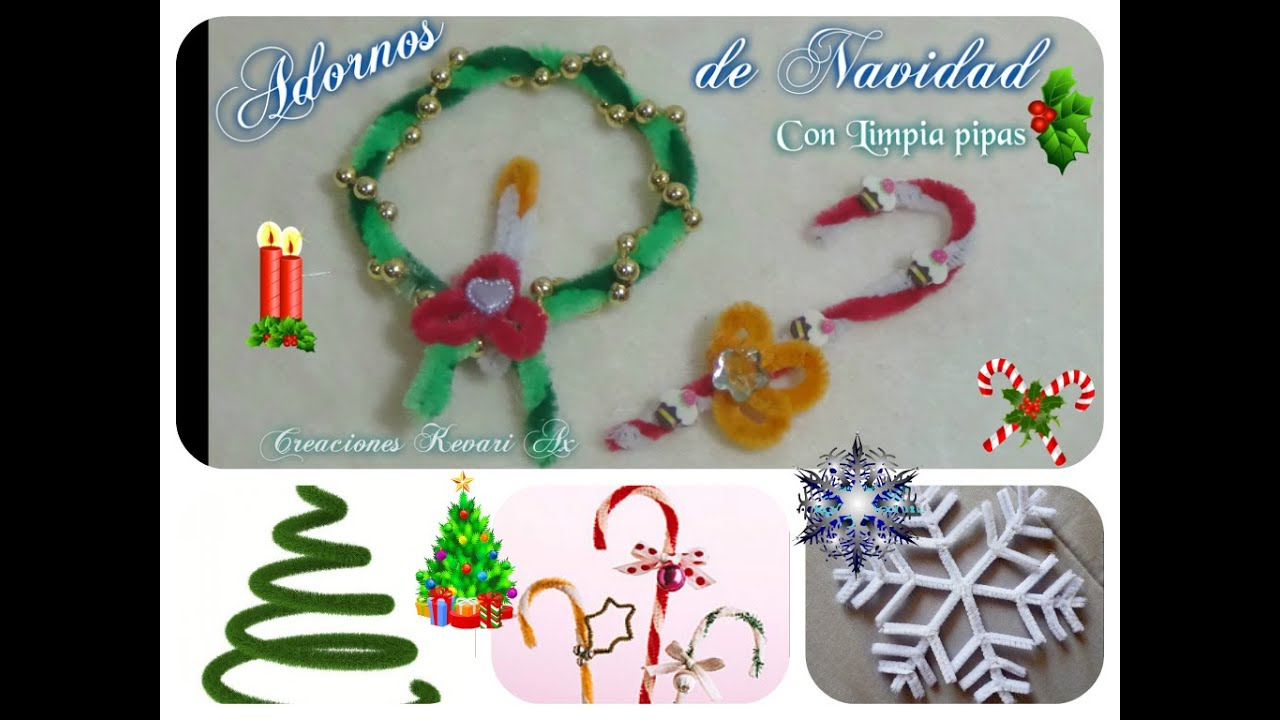 Corona y baston navide os adornos con limpia pipas diy - Manualidades con fieltro para navidad ...