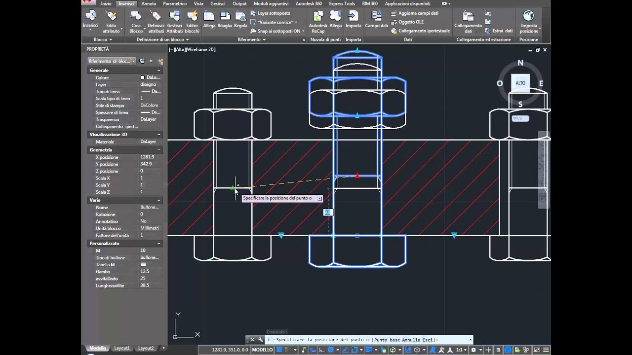 Pictures Of Nuts And Bolts >> Bullone con Dado – Blocco Dinamico – AutoCAD DWG - Bolt and nuts dynamics block - YouTube