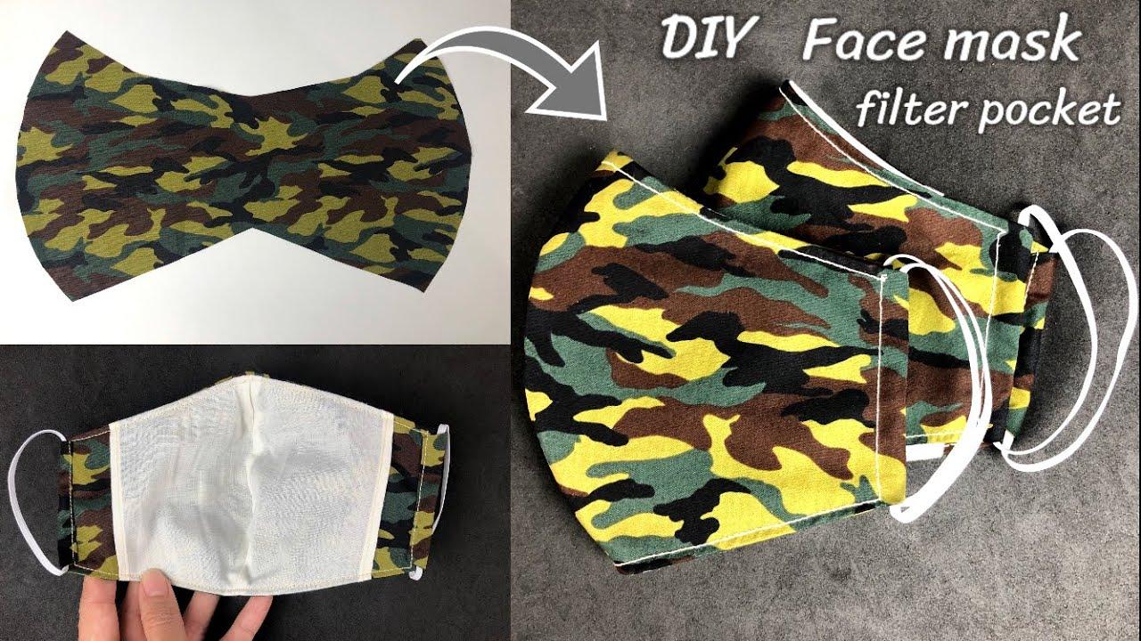 Fabric Face Mask With Filter Pocket Sewing Tutorial | วิธีเย็บหน้ากากผ้าแบบมีช่องสำหรับใส่แผ่นกรอง