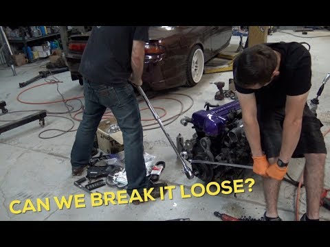 2 GUYS 1 BOLT. | 2JZ Stuck crank pulley bolt! | Basement shi