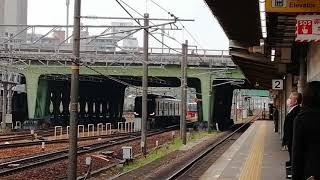名鉄1200系1116F一部特別車特急豊橋行金山4番線到着&9100系トップナン9101F普通内海行金山3番線到着