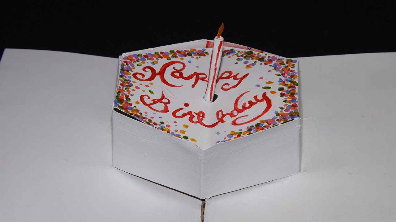 EASY POP UP BIRTHDAY CAKE CARD AND CANDLE YouTube – Pop Up Birthday Cake Card