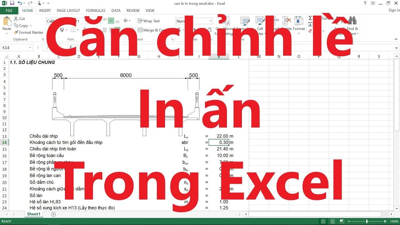 Căn chỉnh lề, In ấn trong Excel