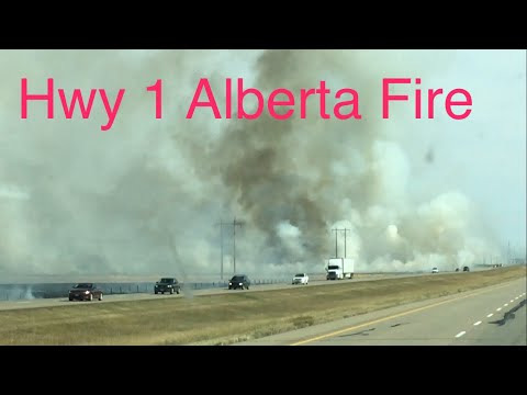 Hwy 1 Tilley Alberta Fire Caused By Trailer