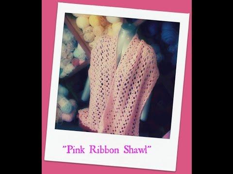 """Pink Ribbon Shawl""-Caron Yarns"