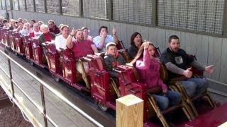 Outlaw Run first riders on opening day at Silver Dollar City