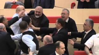 Unbelievable mass brawl in Georgian parliamentary debate Thumbnail