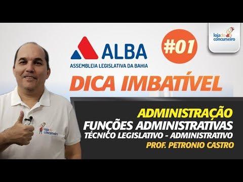🔵 Dica #01 - ALBA - Questões FGV - Administração - Funções Administrativas - Petronio Castro