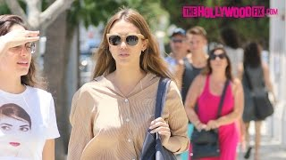 Jessica Alba Gets Harassed By The TMZ Tour Bus For A Shoutout While Arriving To M Cafe 6.20.16