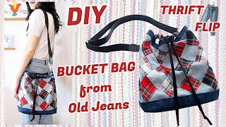 Refashion DIY BUCKET BAG from Old Jeans / THRIFT FLIP / Recycle Idea / 古着リメイク / COSTURAㅣmadebyaya