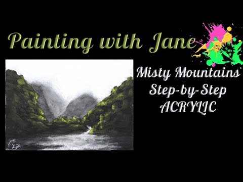 30 Days of Art #3 - Misty Mountains Step by Step Acrylic Painting on Canvas for Beginners