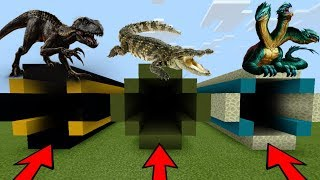 DO NOT CHOOSE THE WRONG TUNNEL in Minecraft PE (Indoraptor, Crocodiles & Hydra Dragon)
