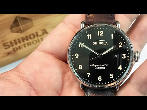 The black 43mm Shinola Canfield watch from Detroit, Michigan review