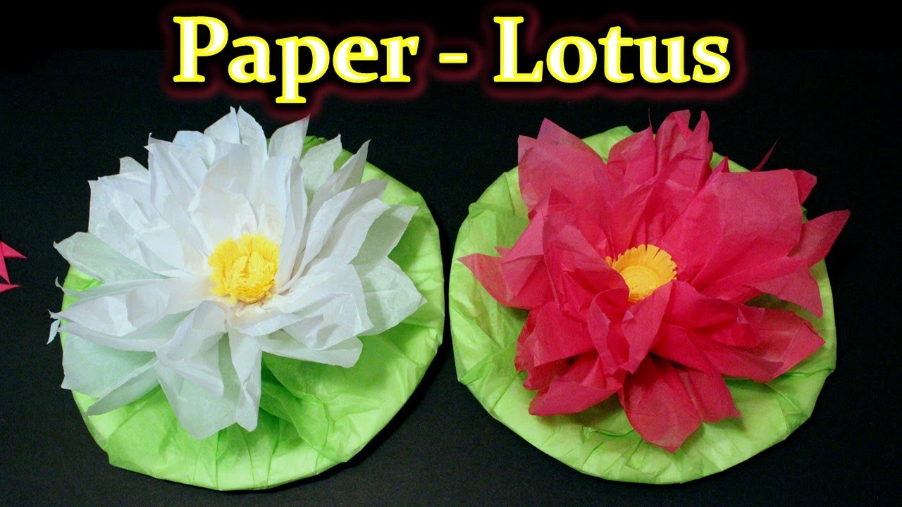 Diwali Craft Diy Lotus With Tissue Paper And Crepe Streamer Youtube