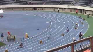 2014年7月20日(日) 駒沢競技場 □中学男子4×100mR タイムレース 3組 1着 4レーン...