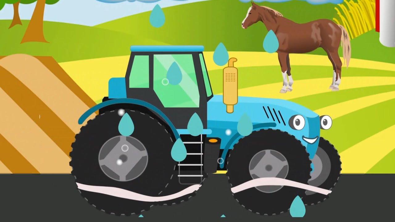 Мультик раскраска про синий трактор по имени КОША ...