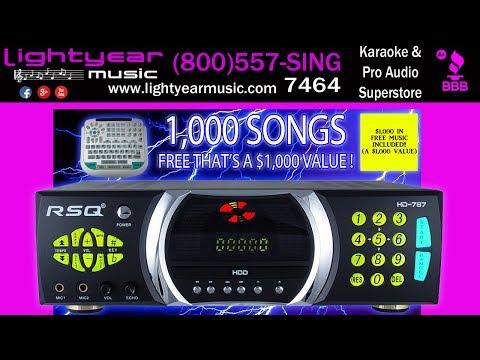 Best Karaoke Player Karaoke Machine 2 Terabyte Hard drive RSQ HD 787 CD+G Lightyearmusic Free Music