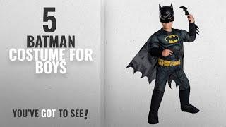 Top 10 Batman Costume For Boys [2018]: Rubie's Costume Boys DC Comics Deluxe Batman Costume,