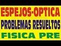 OPTICA , ESPEJOS PROBLEMAS RESUELTOS DE PREPARATORIA PREUNIVERSITARIOS
