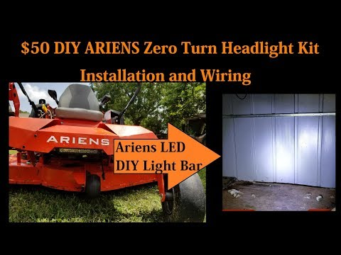 $50 DIY Ariens Zero Turn Headlight Kit Installation and Wiring 71514100 -  YouTubeYouTube