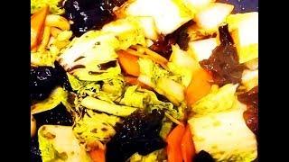 Китайская кухня. Пекинская капуста с древесными грибами.