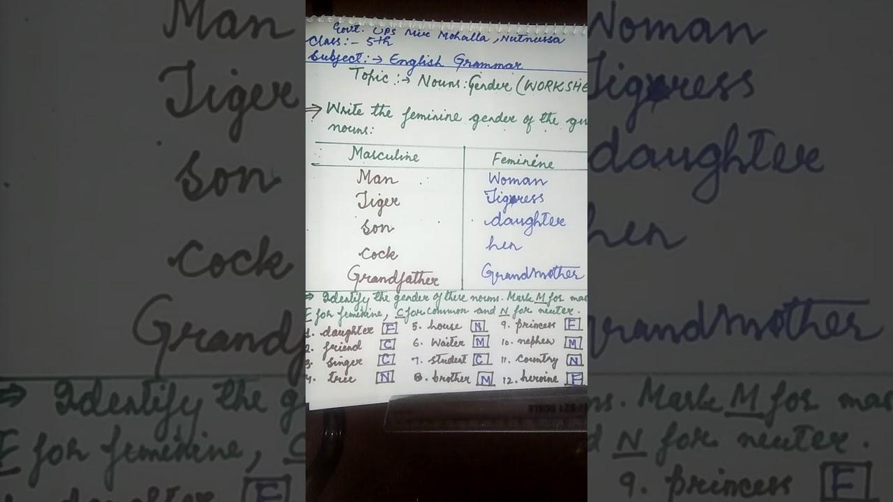 Grade 5 Subject English Grammar Topic Nouns :gender (worksheet)(1) - YouTube [ 720 x 1280 Pixel ]