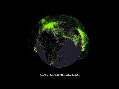 One Year of Global Air Traffic as a Million Flowing Particles