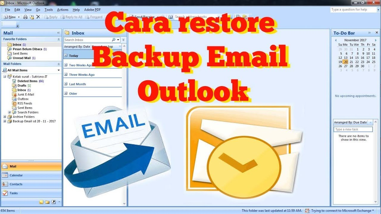 How to Restore Backup Email Microsoft Office Outlook - YouTube