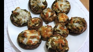 Stuff Mushrooms  With Pesto And Feta Cheese