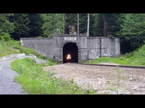Freight Train Emerges from Cascade Tunnel