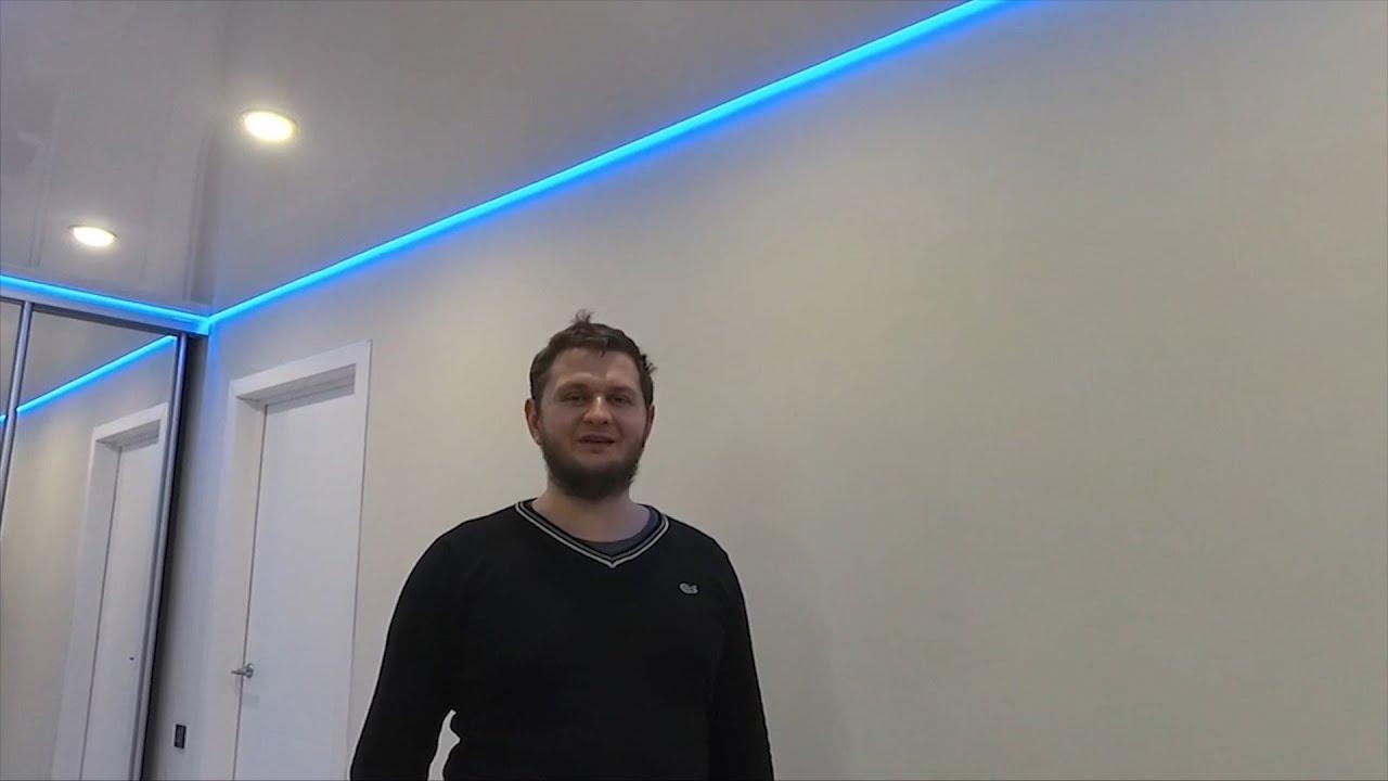 Парящий натяжной потолок в коридоре. Отзыв от клиента