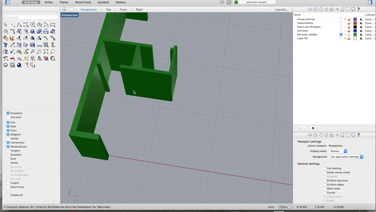 Extruding Walls Rhino 5