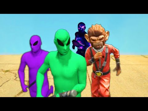 GTA 5 GANG WARS - GREEN ALIEN GANG VS PURPLE VS SPACE MONKEY VS GALAXY GANG