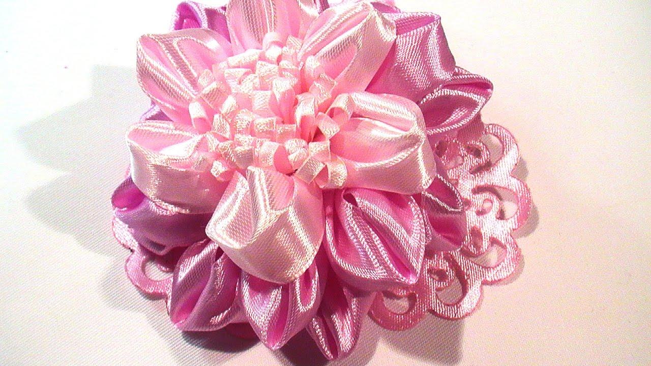 Букеты, красивые цветы из ленты 2.5 см