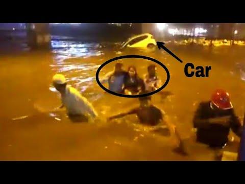 Women rescued from Bangalore rain storm. Nyandhalli mysore Road.