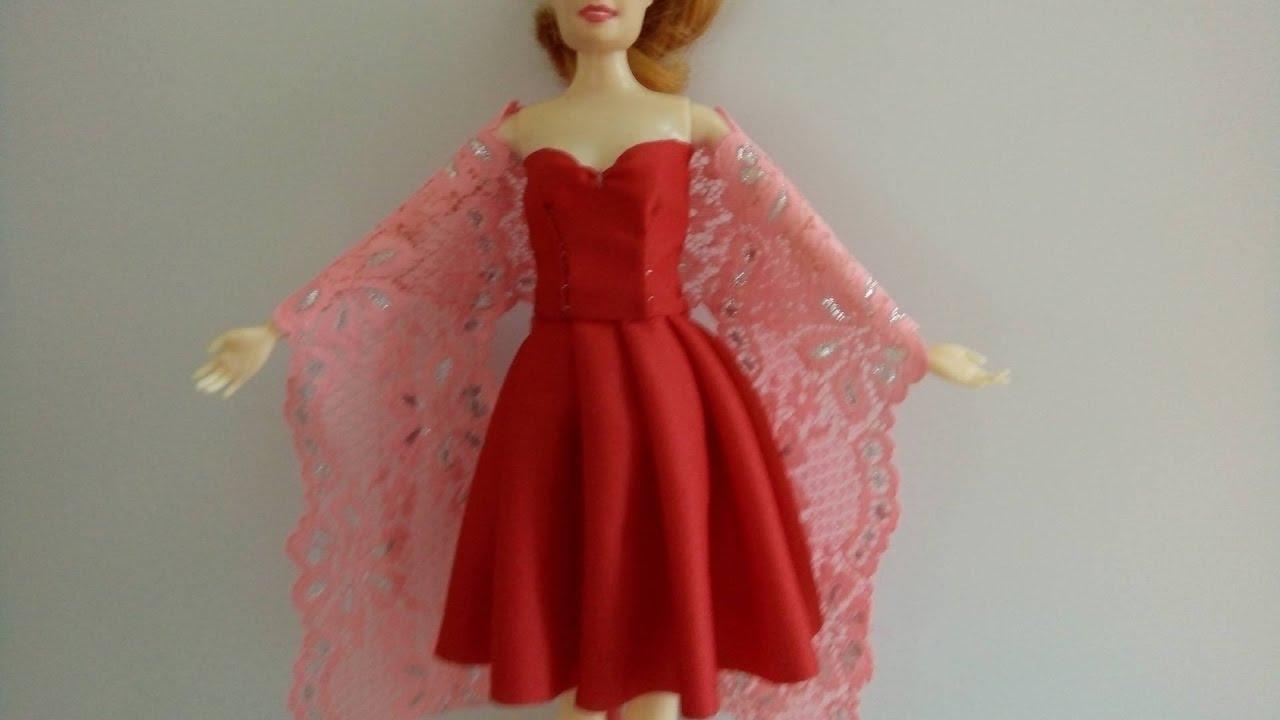 May váy xòe lọn to cho búp bê đơn giản – dễ làm